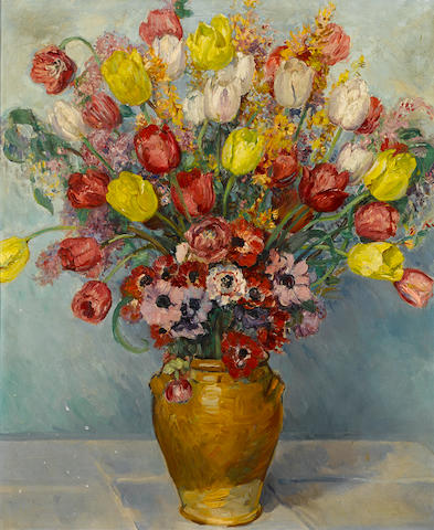 Paul Dougherty (American, 1877-1947) Still life with flowers 32 1/2 x 26 3/4in