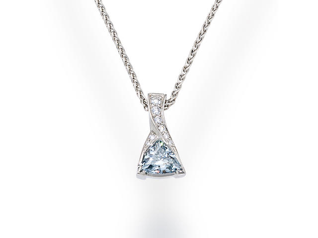 A colored diamond and diamond pendant necklace