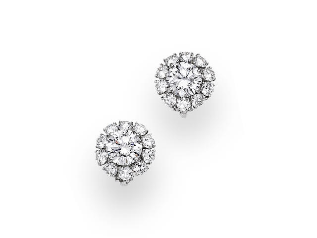 A pair of diamond earclips, Harry Winston,