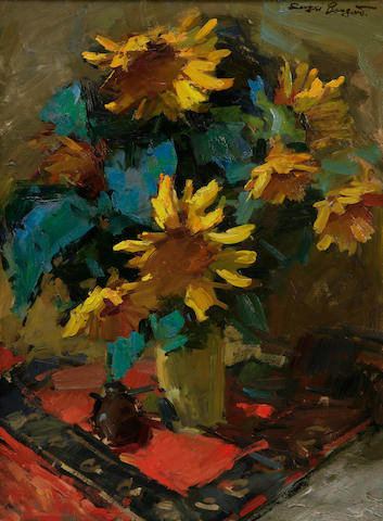 Sergei Bongart (Russian/American, 1918-1985) Still life with sunflowers in a vase 40 x 30in.