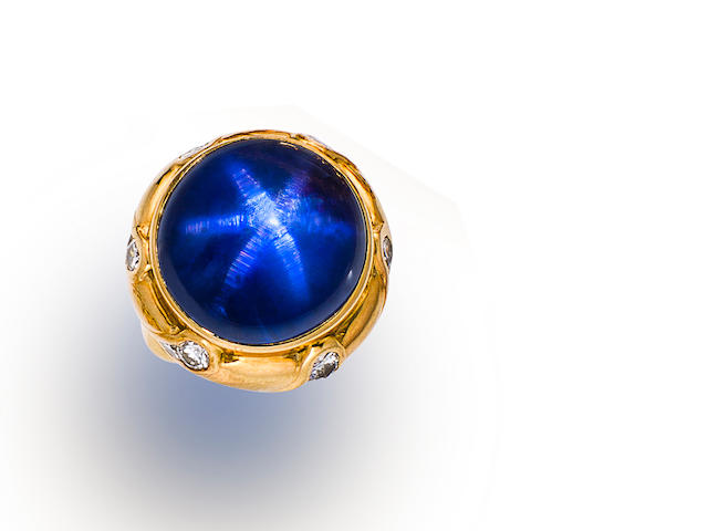 A star sapphire and diamond ring, Ann Garrett