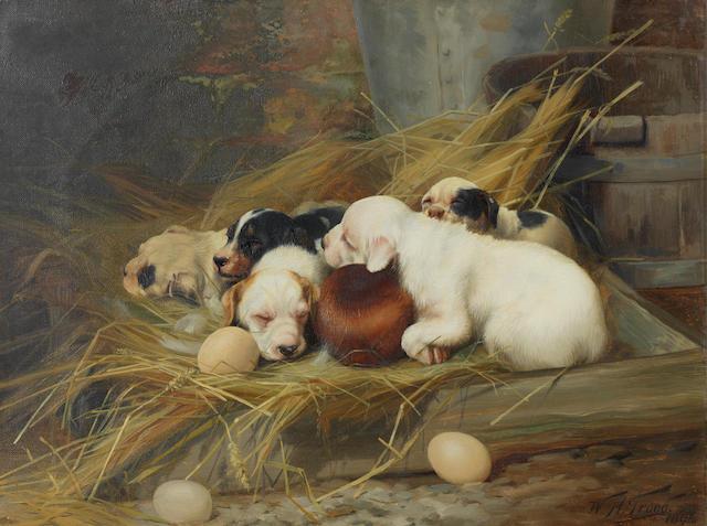 William Henry Hamilton Trood (British, 1860-1899) Sweet slumber 12 1/4 x 16 1/4in. (31 x 41.5cm.)
