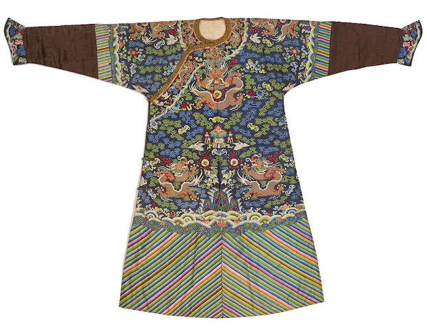A kesi-woven blue silk ground dragon robe Late Qing dynasty