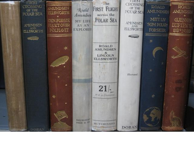 AMUNDSEN, ROALD. 1872-1928. 11 volumes on Arctic Exploration and aviation, by or concerning Roald Amundsen.