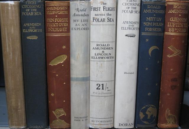 AMUNDSEN, ROALD. 1872-1928. 11 volumes on Arctic Exploration and aviation, by or concerning Roald Amundsen.