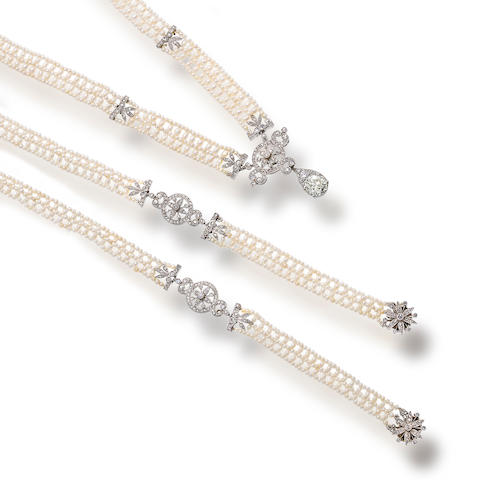 A diamond and seed pearl necklace and bracelet suite