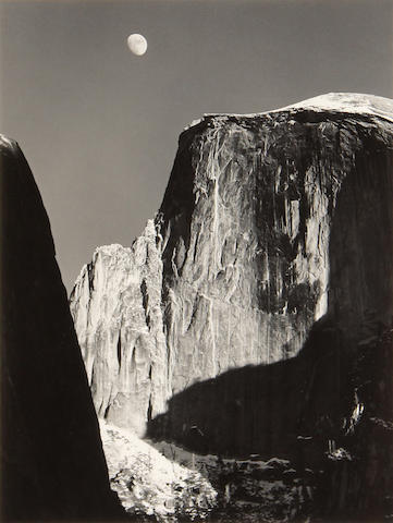 Ansel Adams (American, 1902-1984); Moon and Half Dome, Yosemite, National Park, California;