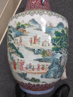 A massive famille rose enameled porcelain vase Qianlong mark