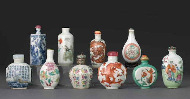 A group of ten porcelain snuff bottles