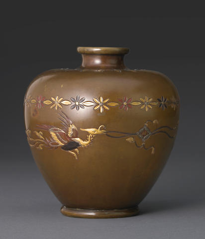 A small bronze vase with mixed metal accents Meiji period