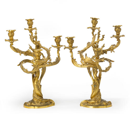 A pair of Louis XV style gilt bronze four light candelabra late 19th century