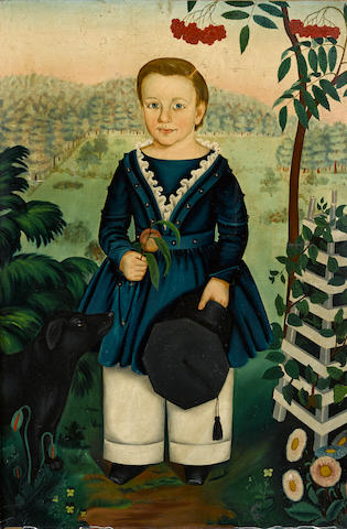 After Susan Waters, American, 1823-1900 Portrait of a boy and a dog in a landscape
