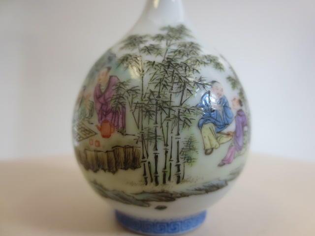 A miniature famille rose enameled porcelain bottle vase 20th century