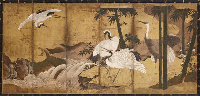 Kano school (16th/17th century) Cranes in a Landscape