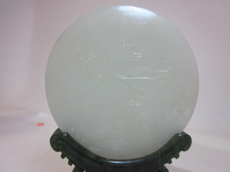 A white and spinach jade plaque and stand Late Qing/Republic period
