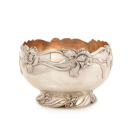 A Shreve sterling silver footed bowl, decorated with Irises