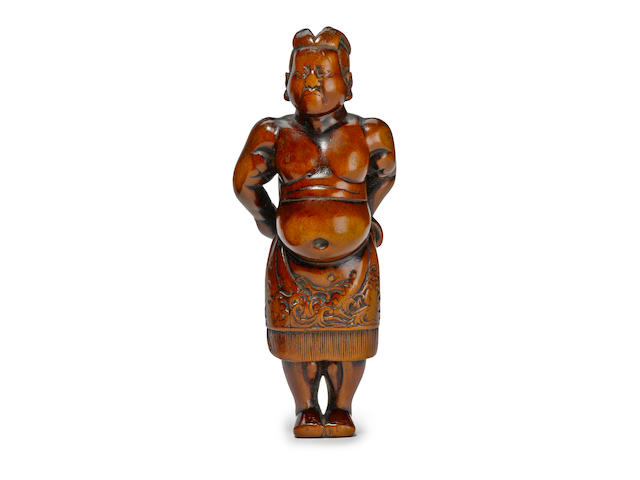 A large wood netsuke of a sumo wrestler Edo period (late 18th century)