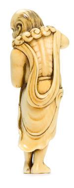 An ivory netsuke of Ryujin holding a tama Kyoto, Edo period (18th century)
