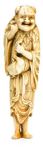 An ivory netsuke of Gamma sen'nin Edo period, (18th century)