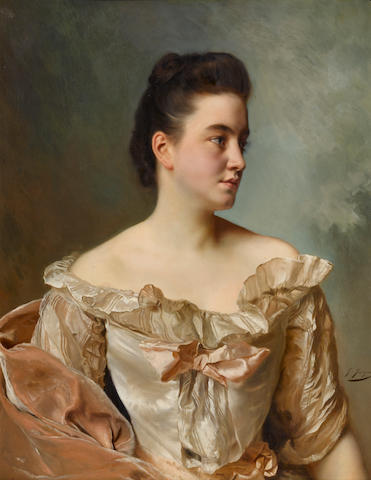 Gustave Jean Jacquet (French, 1846-1909) A portrait of a lady in pink 32 x 25 3/4in (81.3 x 65.4cm)