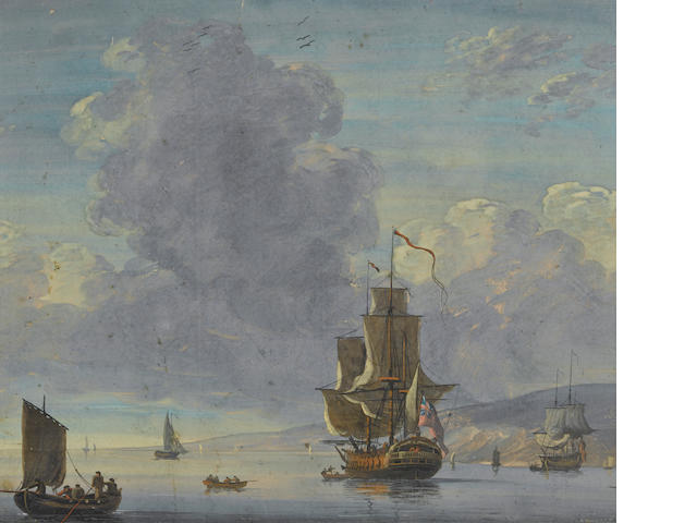 English School, late 18th Century Shipping in a calm sea 10 x 12in
