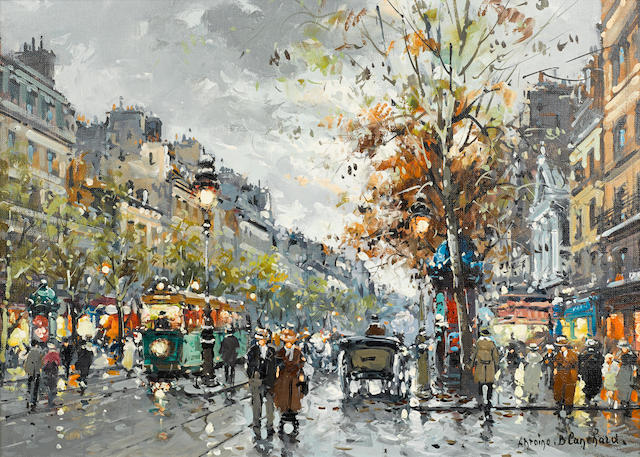 Antoine Blanchard, Street scene, oil on canvas, 13 x 18in, framed