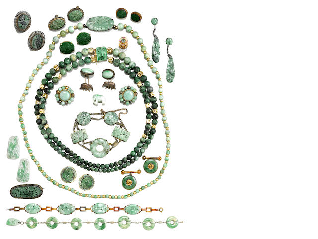 A group of jadeite-mounted jewelry