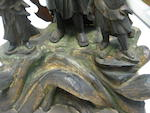 A wood sculpture of Fudo-myoo with attendants<BR />Edo period