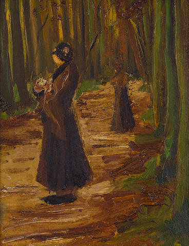 VINCENT VAN GOGH (1853-1890) Two women in a wood 12 1/4 x 9 7/16in. (31 x 24cm)