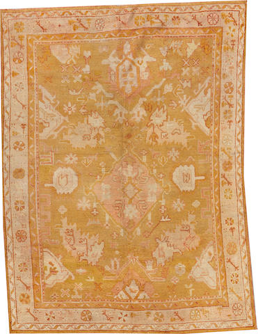 An Oushak runner West Anatolia size approximately 5ft. 10in. x 7ft. 9in.
