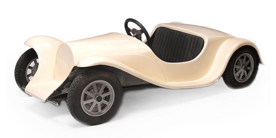 An unfinished childs size Bugatti pedal car,