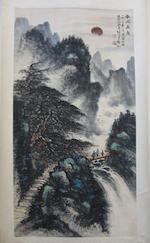 Li Xiongcai (1910-2001)  Landscape with Travelers