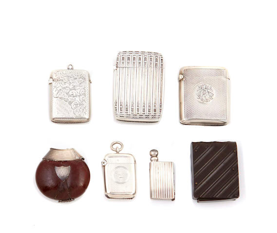 A collection of English sterling silver vesta cases, together with A German silver lighter and another gutta percha case, 24 pcs
