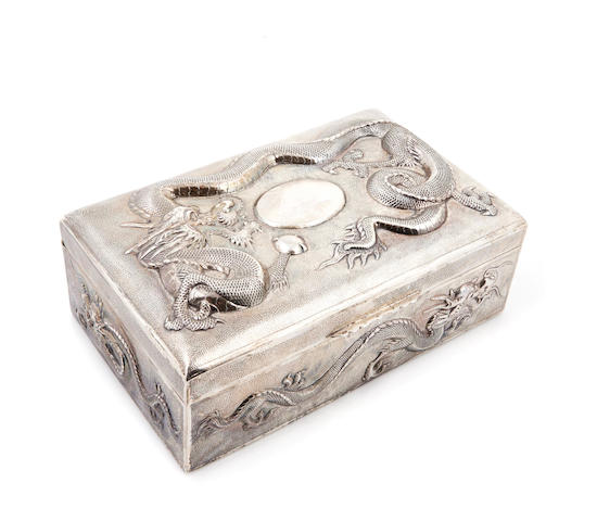 A Chinese Export silver humidor marked CC, probably Canton, mid-19th/20th century
