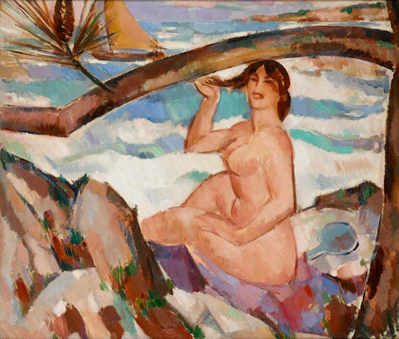 John Duncan Fergusson RBA (British, 1874-1961) Bather, Cap d'Antibes 60 x 70 cm. (23 1/2 x 27 1/2 in.)