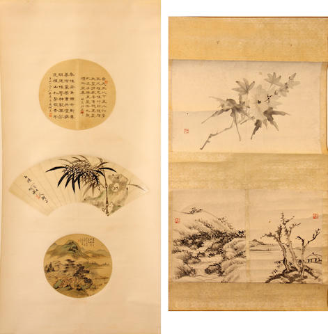 Two hanging scrolls, the first with three fan leaves (1876-1941) Calligraphy and Bamboo and (1747-1828) landscape, the second unknown artist (20th century) three fan leaves, two landscapes and flowers