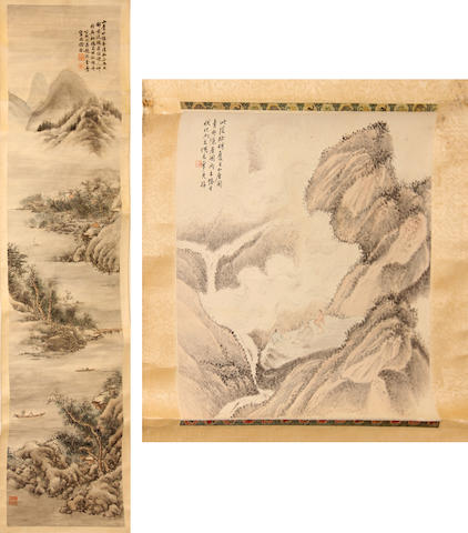 Two hanging scrolls, the first (20th century?) landscape, the second Anonymous (19th/20th century) Gathering by a stream, album leaf now mounted, both ink and color on paper
