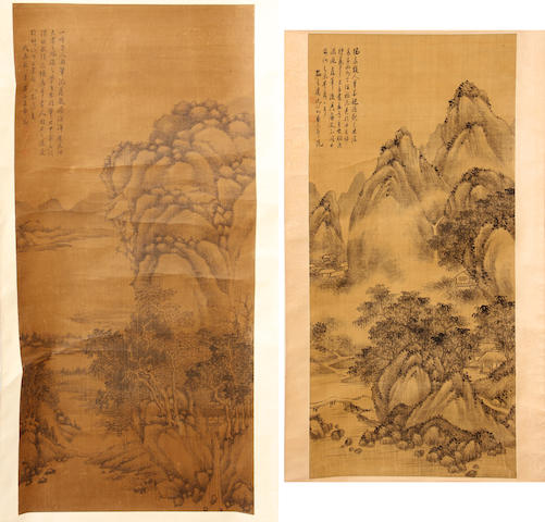Two hanging scrolls, the first unknown artist (20th century) bearing two seals, the second Anonymous (20th century) bearing a signature reading Wang Hui, both landscapes, ink on silk