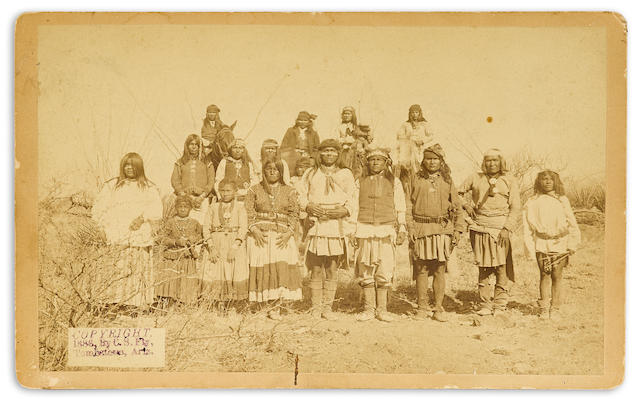 "GERONIMO'S CAMP. Albumen print cabinet card, titled ""No. 181—Group of Hostiles,"" a group portrait"