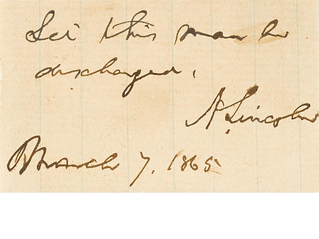 "LINCOLN, ABRAHAM. 1809-1865. Autograph Endorsement Signed (""A. Lincoln""),"