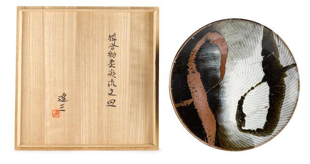 A stoneware circular dish By Shimaoka Tatsuzo