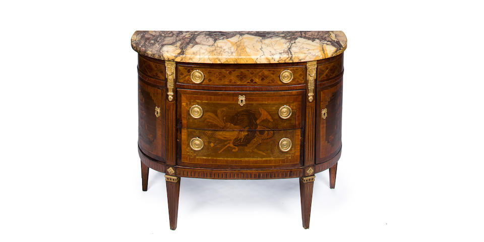 A Louis XVI style gilt bronze mounted demi-lune tulipwood and rosewood marquetry commode second half 19th century
