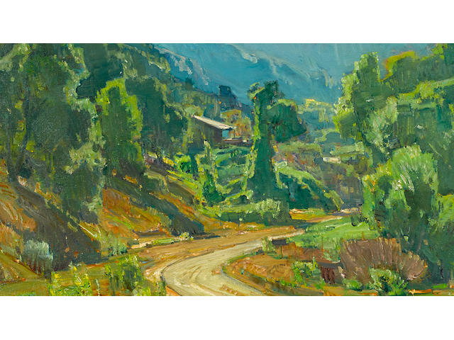 William Wendt (American, 1865-1946) Camp in the mountains, 1928 25 x 30in