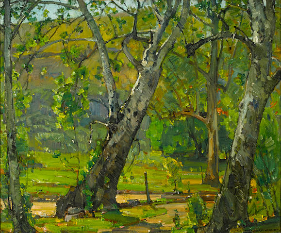 William Wendt (American, 1865-1946) A grove of trees, 1933 25 x 30in