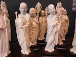 A carved ivory set of the Eighteen Luohan