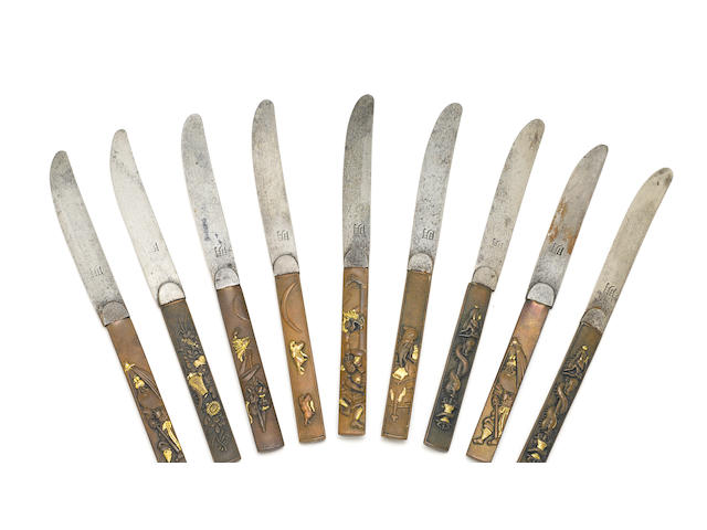 A cased set of ten Japanese mixed metal  knives  Meiji period
