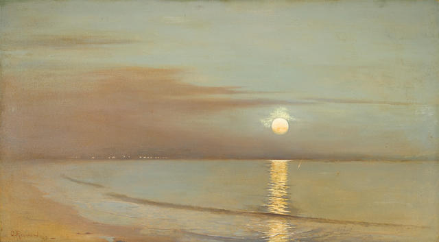 Granville Redmond (American, 1871-1935) Moonrise beyond the bay, 1903 26 x 48in