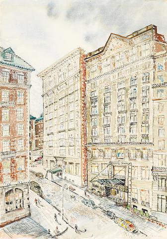 Bernard von Eichman (American, 1899-1970) New York cityscape, circa 1930s 21 x 15in