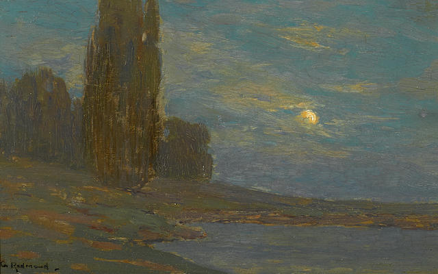 Granville Redmond (American, 1871-1935) Moonlit landscape 5 3/4 x 9 1/2in