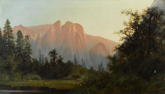 Charles Dormon Robinson (American, 1847-1933) Three Sisters, Yosemite Valley, 1884 14 x 24in